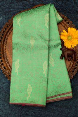 Paris Green Zari Woven Kanchipuram Silk Saree-PJ1916