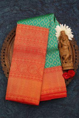 Green & Blue Dual Tone Zari Woven Kanchipuram Silk Saree-PJ1919