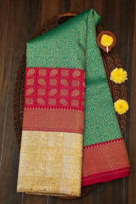 Green & Blue Dual Tone Zari Woven Kanchipuram Silk Saree-PJ1922
