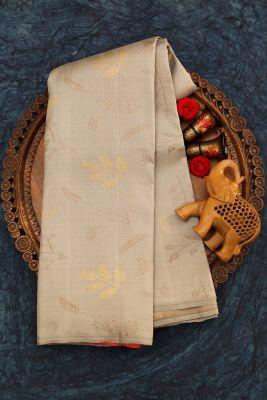 Ash Grey Zari Woven Kanchipuram Silk Saree-PJ1923
