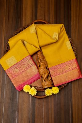 Citrine Yellow Zari Woven Kanchipuram Silk Saree-PJ1924