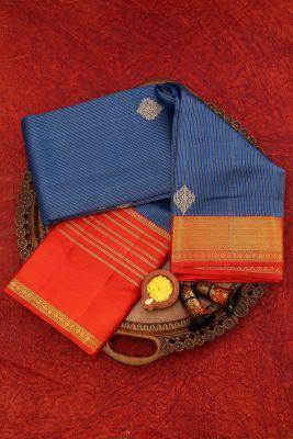 Occean Blue Zari Woven Kanchipuram Silk Saree-PJ1935