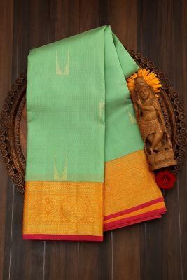 Light Parisgreen Zari Woven Kanchipuram Silk Saree-PJ1943