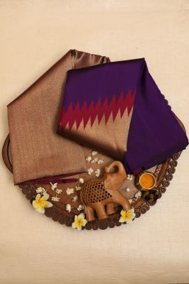 Indigo,Magenta & Gold Zari Woven Kanchipuram Silk  Saree-PJ1958