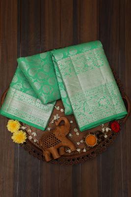 Neon Green Zari Woven Kancipuram Silk Saree-PJ1988