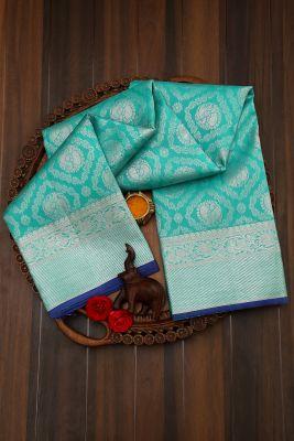 Ocean Green Zari Woven Kanchipuram Silk Saree-PJ2000