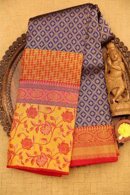 Blue & Gold Zari Woven Kanchipuram Silk Saree-PJ2010