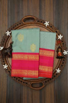 Laurel Green Zari Woven Kanchipuram Silk Saree-PJ2029