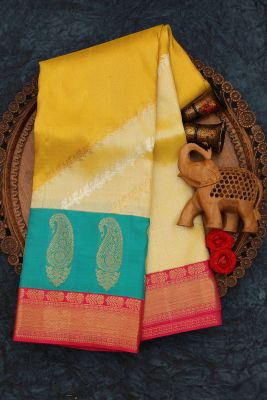 Gold & Yellow Dual Shaded Zari Woven Kanchipuram Silk Saree-PJ2050