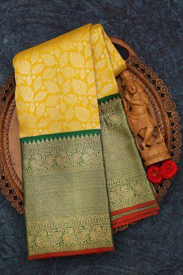 Bumblebee Yellow Zari Woven Kanchipuram Silk Saree-PJ2067