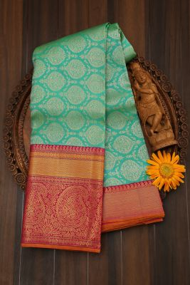 Blue & Green Dual Tone Zari Woven Kanchipuram Silk Saree-PJ2070