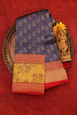Blue & Gold Zari Woven Kanchipuram Silk Saree-PJ2071