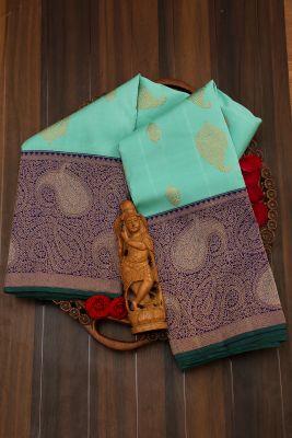 Seafoam Green Zari Woven Kanchipuram Silk Saree-PJ2075