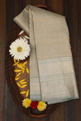Grey Tea Green Zari Woven Kanchipuram Silk Saree-PJ2076