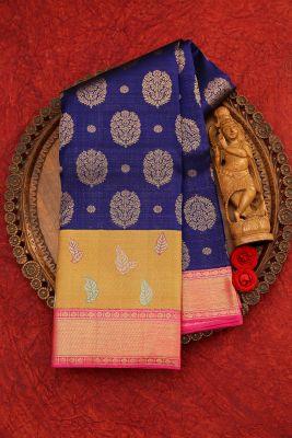 Indigo Blue Zari woven Kanchipuram Silk Saree-PJ2088
