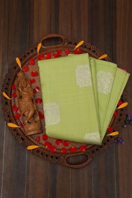 Apple Green Zari woven Kanchipuram Silk Saree-PJ2093