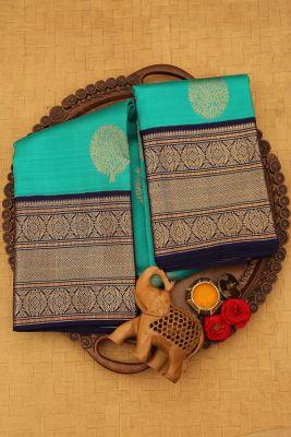 Jade Green Zari woven Kanchipuram Silk Saree-PJ2100