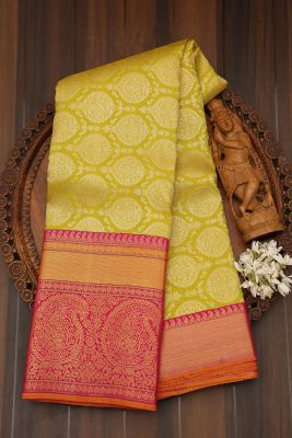 Pear Green Zari woven Kanchipuram Silk Saree-PJ2102