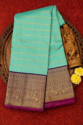 Seafoam Green Zari Woven Kanchipuram Silk Saree-PJ2105