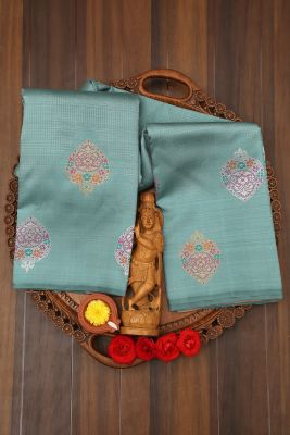 Eton Blue Zari Woven Kanchipuram Silk Saree-PJ2107