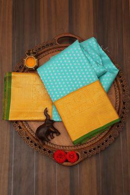 Turquoise Blue Zari Woven Kanchipuram Silk Saree-PJ2110