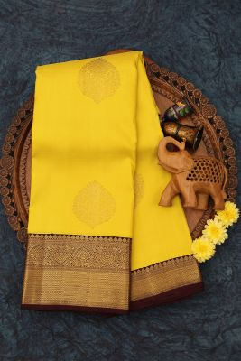 Chartreuse Yellow Zari Woven Kanchipuram Silk Saree-PJ2111