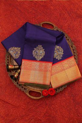 Indigo Blue Zari woven Kanchipuram Silk Saree-PJ2112