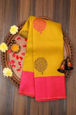 Pistachio Green Zari woven Kanchipuram Silk Saree-PJ2119