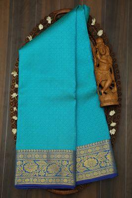 Ocean Green Zari woven Kanchipuram Silk Saree-PJ2127