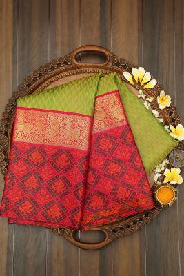 Green Dual Tone Zari woven Kanchipuram Silk Saree-PJ2132