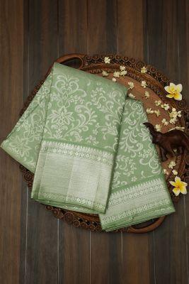 Sage Green Zari woven Kanchipuram Silk Saree-PJ2134