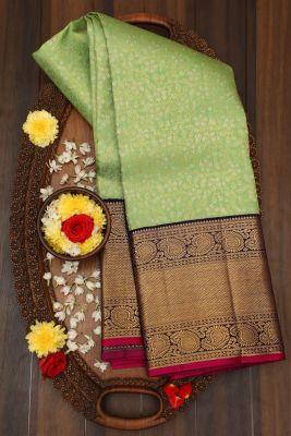 Pear Green Zari woven Kanchipuram Silk Saree-PJ2157