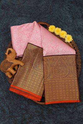 Light Pink Zari Woven Kanchipuram Silk Saree-PJ2161