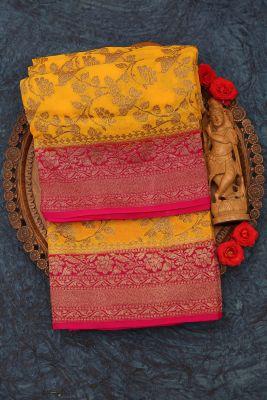 Chrome Yellow Zari Woven Banarasi Georgette Saree-PJ2387