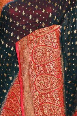 Dark Green Zari Woven Banarasi Georgette Saree-PJ2388