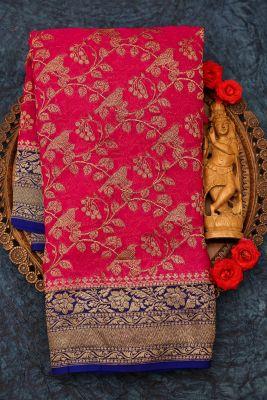 Deep Pink Zari Woven Banarasi Georgette Saree-PJ2389