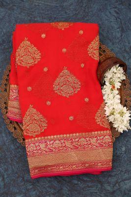 Bright Red Zari Woven Banarasi Georgette Saree-PJ2391