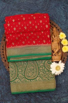 Chilly Red Zari woven Banarasi Georgette Saree-PJ2392