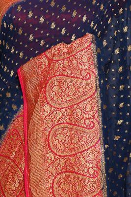 Prussian Blue Zari woven Banarasi Georgette Saree-PJ2393