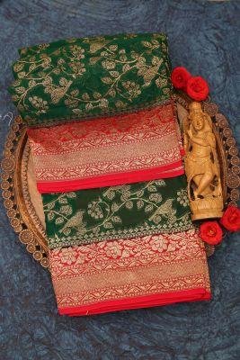 Emerald Green Zari woven Banarasi Georgette Saree-PJ2394