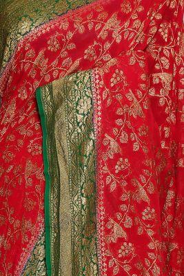 Cherry Red Zari woven Banarasi Georgette Saree-PJ2396