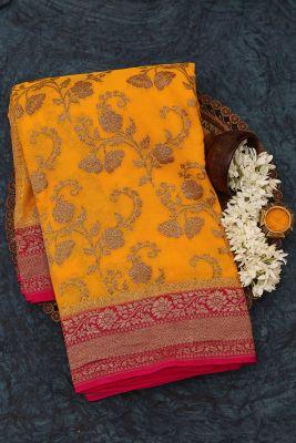 Turmeric Yellow Zari woven Banarasi Georgette Saree-PJ2397