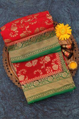 Scarlet Red Zari woven Banarasi Georgette Saree-PJ2398