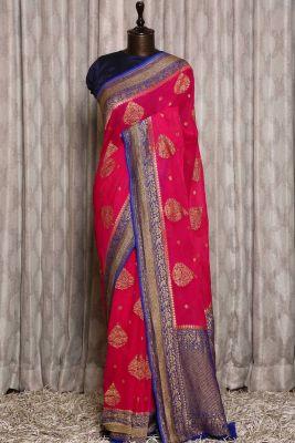 Fuchsia Pink Zari woven Banarasi Georgette Saree-PJ2400