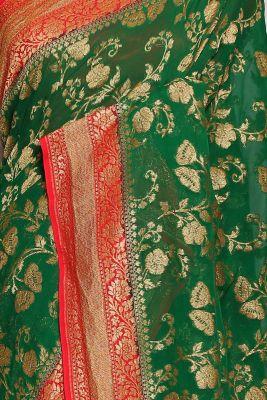 Emerald Green Zari woven Banarasi Georgette Saree-PJ2401