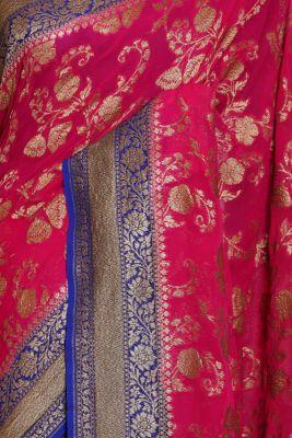 Cerise Pink Zari woven Banarasi Georgette Saree-PJ2402