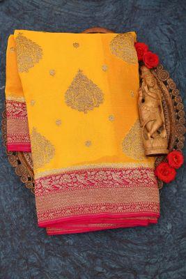 Turmeric Yellow Zari woven Banarasi Georgette Saree-PJ2403