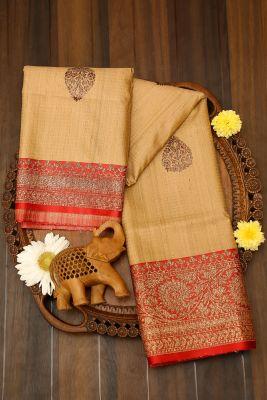 Beige Zari woven Banarasi Tussar Saree-PJ2404