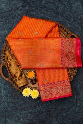 Sunrise Orange Zari woven Banarasi Tussar Saree-PJ2407