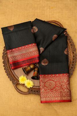 Black Zari woven Banarasi Tussar Saree-PJ2411